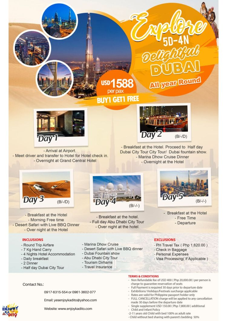 Dubai buy 1 get 1 free by MCP Greenery Travel and Tours