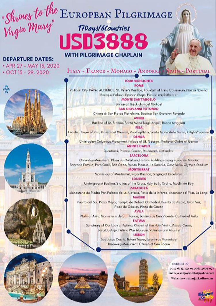 European Pilgrimage with Pilgrimage Chaplain by MCP Greenery Travel and Tours