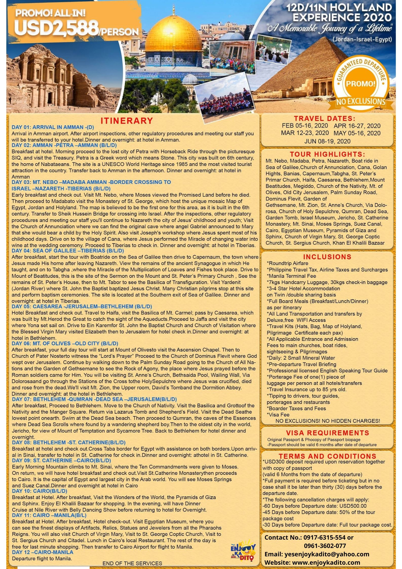HolyLand Feb.-Jun 12D11N by MCP Greenery Travel and Tours